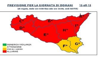 Gibellina: avviso comunale allerta meteo giovedì 15 ottobre