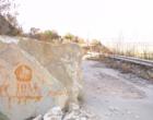 Segnalazione: una pietra blocca la SS 75 Gibellina-Salaparuta
