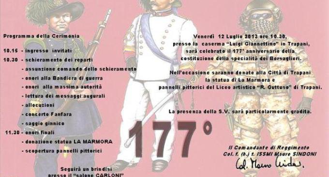 Trapani: venerdì 12 luglio avrà luogo la cerimonia del 177esimo anniversario della costituzione del Corpo dei Bersaglieri
