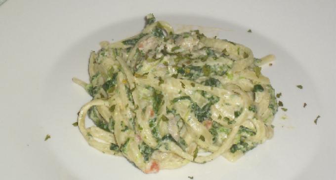 …Le Delizie del Palato: linguine con spinaci, salsiccia e panna