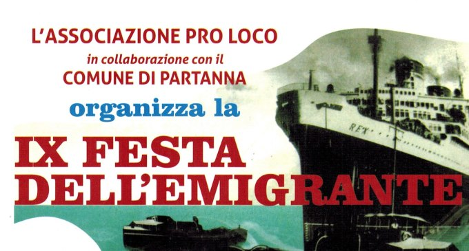 "Partanna: domenica 24 agosto la ""IX Festa dell'emigrante"""