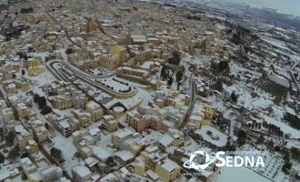 [VIDEO] Partanna ricoperta di neve: le riprese dall'alto con il drone