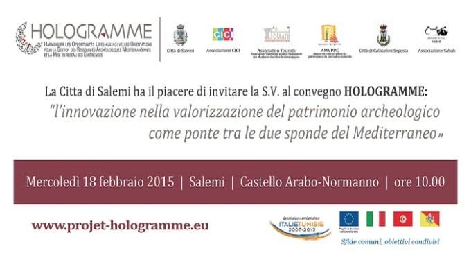 """Progetto """"Hologramme"""": il 18 febbraio convegno al castello di Salemi"""