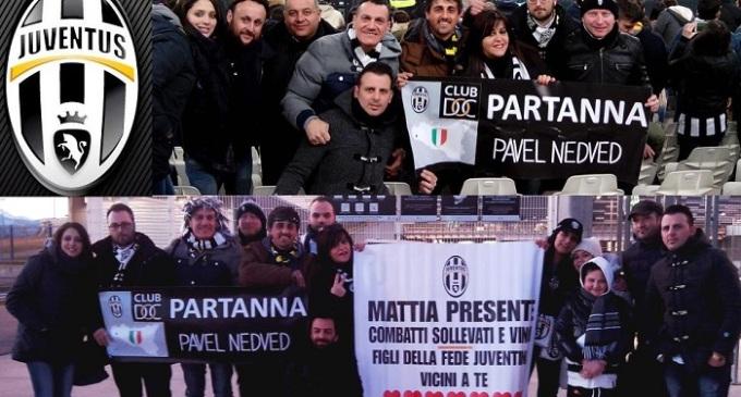 Lo Juventus Club di Partanna presente a Torino con uno striscione per Mattia