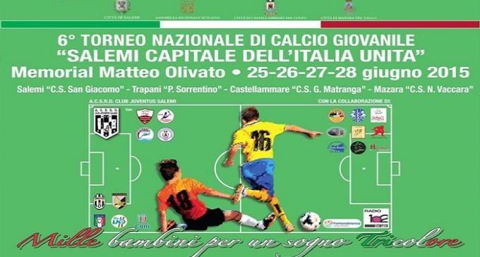"""Dal 25 al 28 giugno il torneo di calcio giovanile  """"Salemi capitale dell'Italia Unita"""""""
