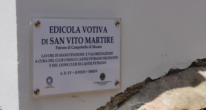 Il Lions contribuisce al restauro dell'edicola votiva di San Vito, patrono di Campobello