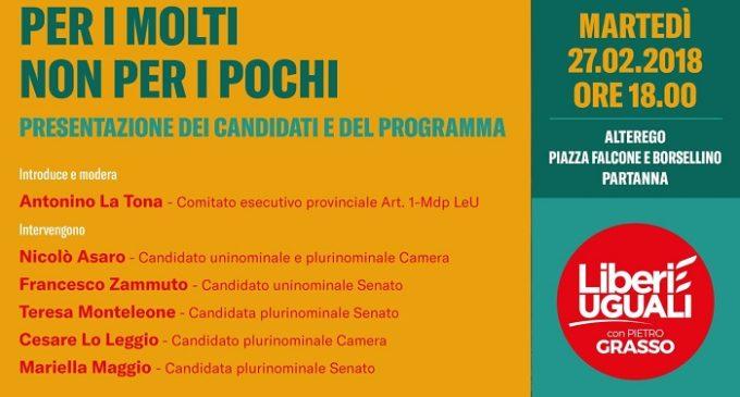 """""""Liberi e Uguali"""": a Partanna la presentazione dei candidati e del programma"""