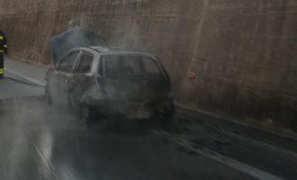 Auto prende fuoco improvvisamente sull'A29. Cause ancora da accertare