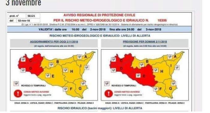 Allerta meteo, bollino rosso per il 3 novembre. Previsti violenti temporali